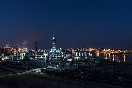 tööstus, rafineerimistehase, nafta, õli, naftakeemia, panoraam, Dusk