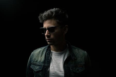 ulleres, jaqueta, Retrat, només un home, ulleres de sol, només homes, una persona