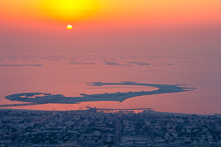 aerial view, sunset, aerial, city, cityscape, horizon, no people