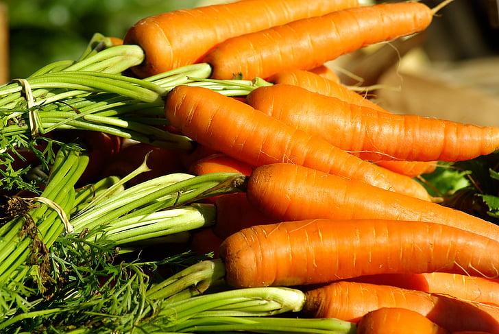 zöldség, sárgarépa, konyhakert, piac, növényi, élelmiszer, frissesség