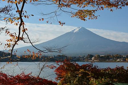 Japó, tardor, Patrimoni de la humanitat, muntanya, neu, cel, Llac