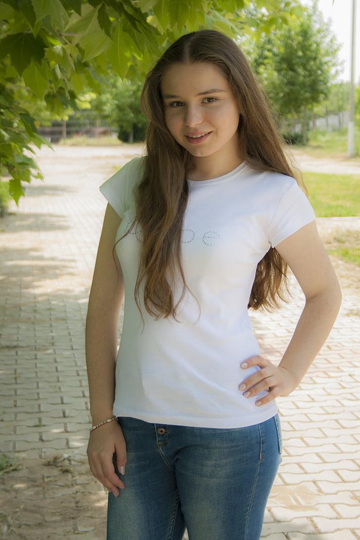fată, frumusete, portret, zâmbet