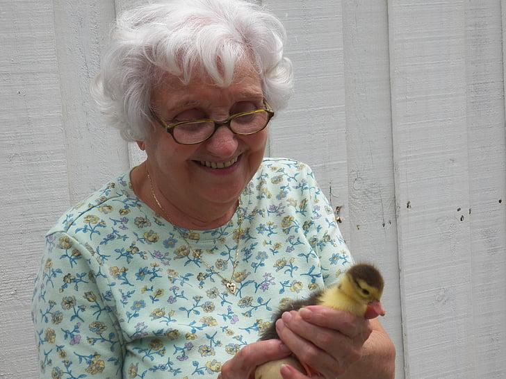 Žena, staré, stará žena, kachna, malá kachna, Veselé, Starší žena