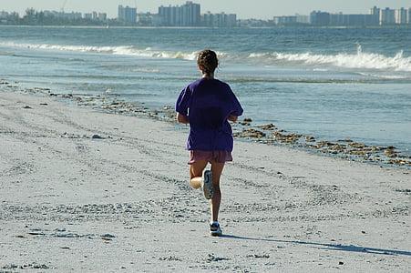 jogger dona, fúting, platja, oceà, gimnàs, entrenament, exercici