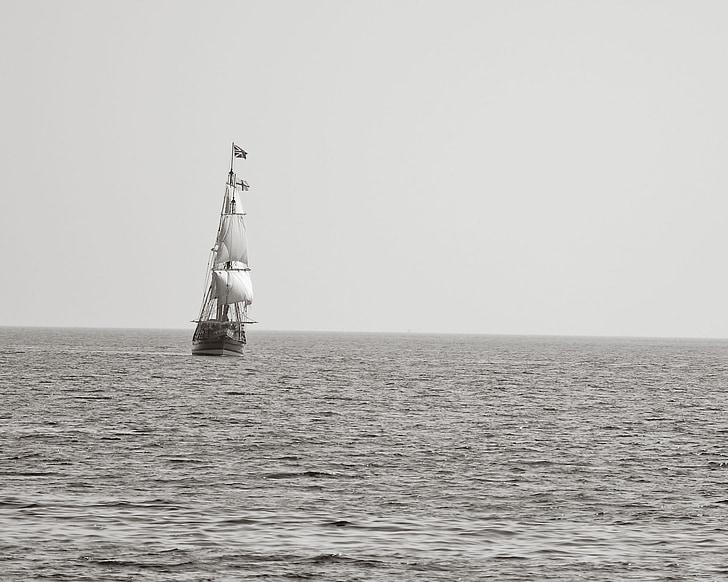 piratskib, sejlskib, sejlads, havet, vand, Ocean
