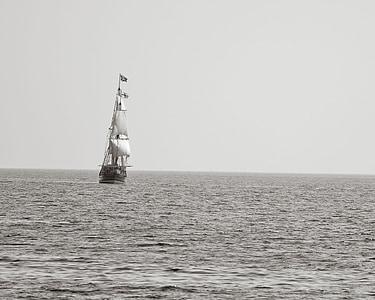pirate ship, sailing ship, sailing, sea, water, ocean