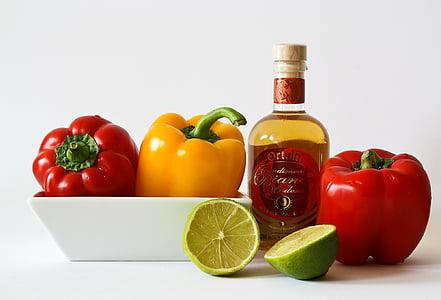 légumes, alimentaire, poivron rouge, rouge, jaune, citron vert, en bonne santé