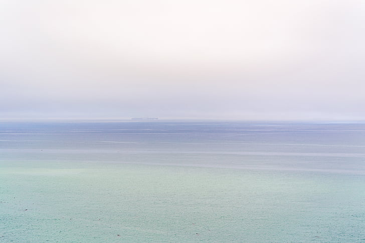 ocean, sea, water, sky, foggy, ship, boat