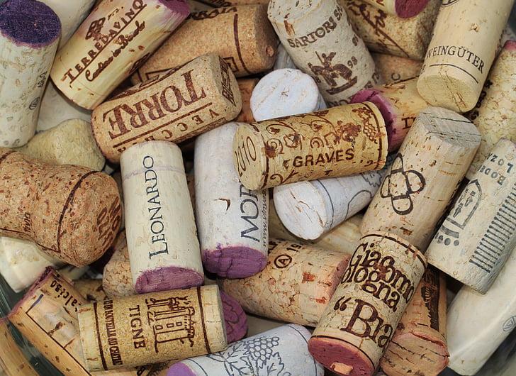Корк, тапи вино, тапи за бутилки, Етикети, затваряне, вино, пие шампанско