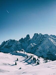 dolomites, mountain, winter, snow, landscape