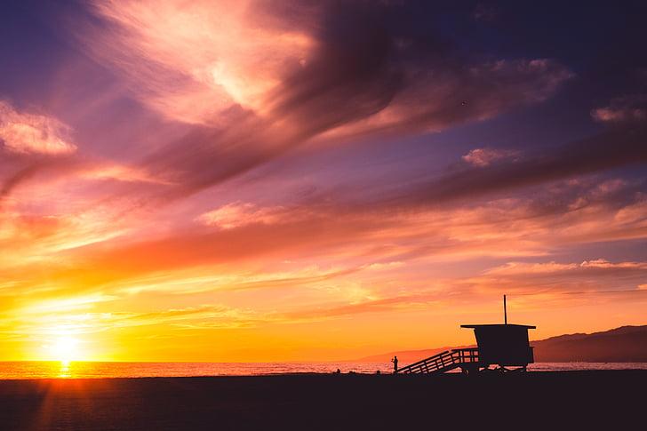 beach, sunset, sky, sun, silhouette, cloud - sky, dramatic sky