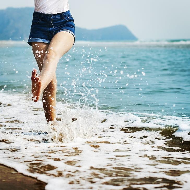 nua, platja, descans, calma, calfred, relaxar-se, Costa