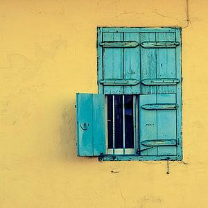okno, drewniane, stary, niebieski, wieś, tradycyjne, Architektura