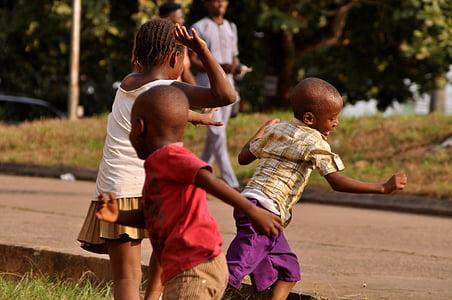 play, african children, run, outdoors, kid, boy, friends