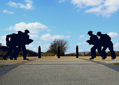 silhouette, soldiers, shell, fort, historic, historic sites