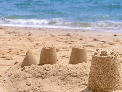 castle, beach, sea, sand, sand sculpture, artwork, wave