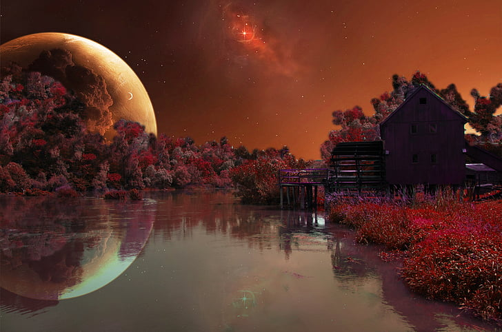 photoshop, background, water, planet, treatment, night, nature