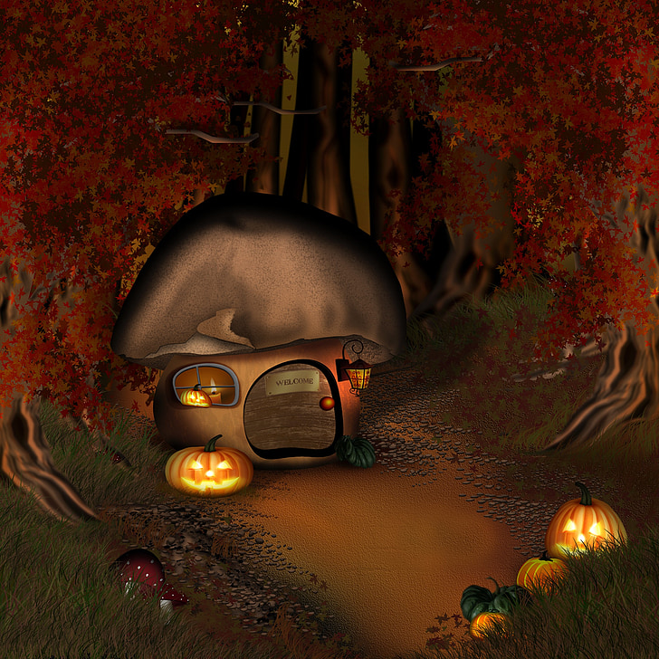 halloween, forest, mushroom house, forest lodge, twilight, home, forest house