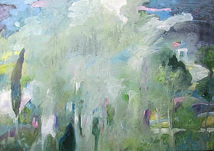 cerah, malam, hutan, Glade, dicat gambar, Lukisan akrilik, abstrak