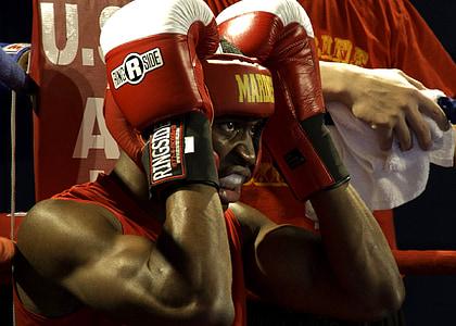 boxejador, mascle, boxa, esport, gimnàs, anell, cantonada