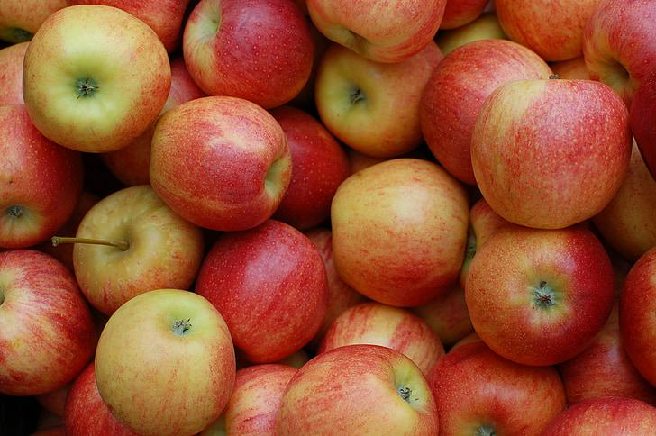 obuoliai, raudona, vaisių, sodo, maisto, šviežumo, obuolių - vaisių