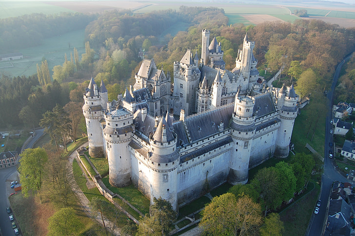 pierrefonds, castle, aerial view, france