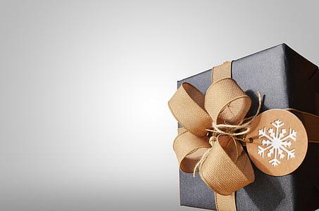 black, gift, box, snowflake, tag, riboon, bow