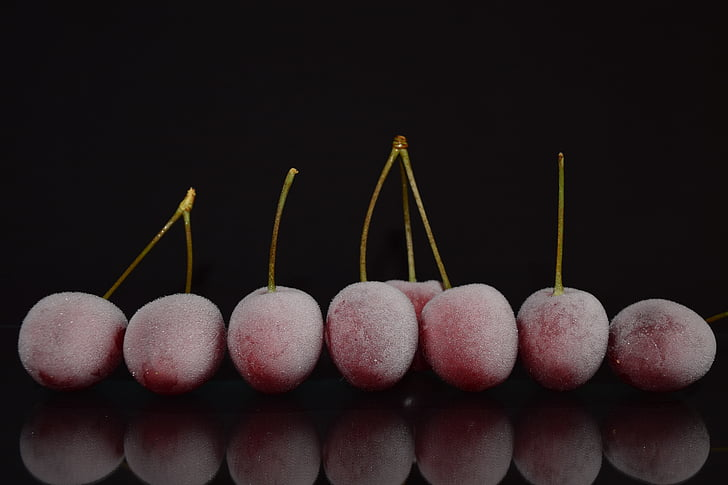cherries, frozen, cold, frosted, close, mirroring, on frozen