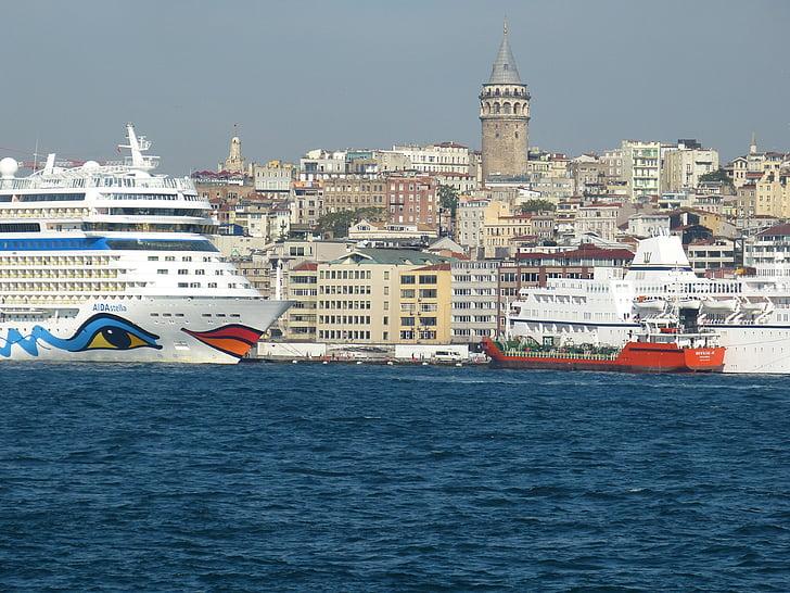 Istanbul, Turkiet, Orient, Bosphorus, gamla stan, Galata, moskén