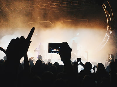 silhouette, people, fans, performer, camera, mobile, phone