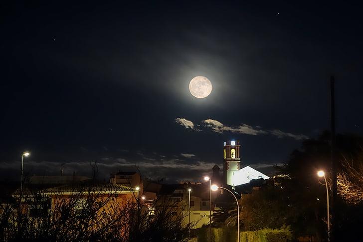 повний місяць, місяць село, Нічний краєвид