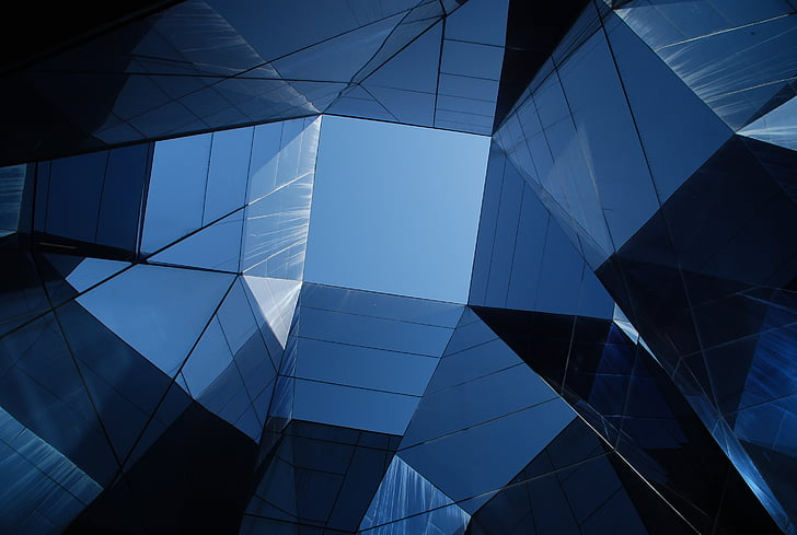abstrakt, arkitektur, bygge, byen, design, geometriske, glass