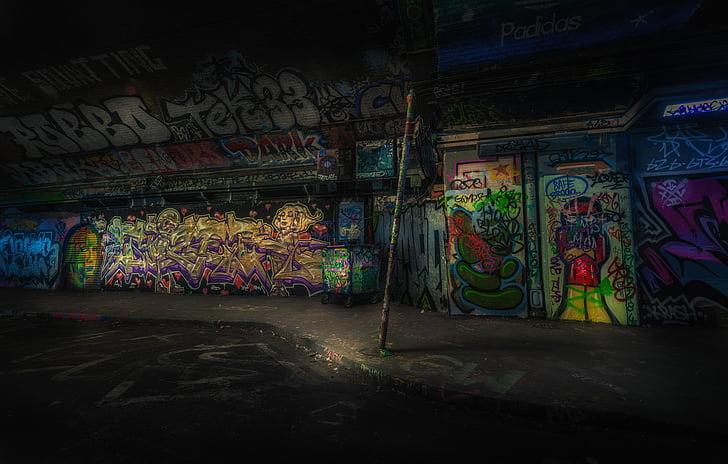 graffiti, graffiti fal, fal, éjszaka, városi, rongálás, kultúra