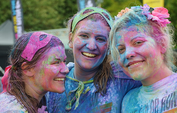 여자, 다채로운, 사람들, 미소, 사람, 행복, 재미