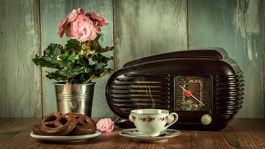 Vintage, retro, raadio, antiikne, muuseum, Natüürmort, kohvi