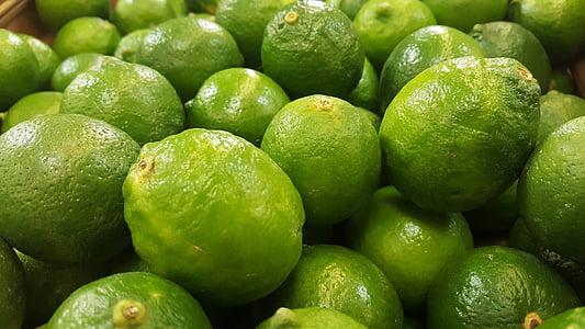 Limes, verde, azedo, citrino, frutas, comida, mercearia