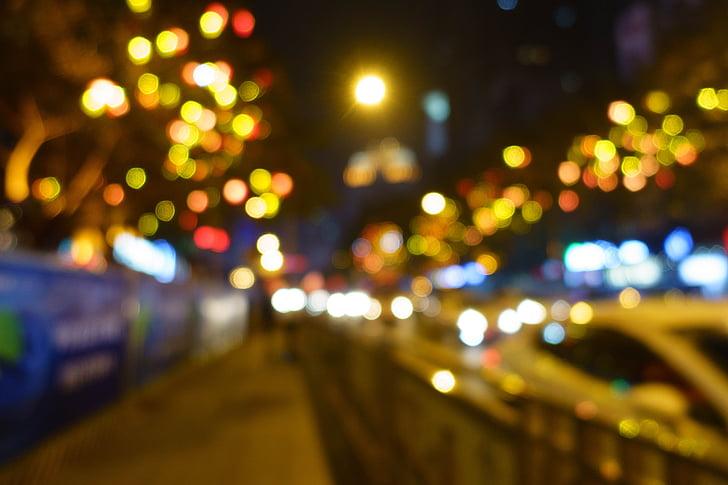fora de focus, nit, llum, bokeh, carrer, tard, Làmpada