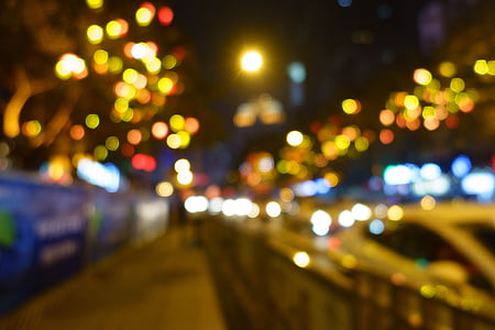 out of focus, night, light, bokeh, street, late, lamp