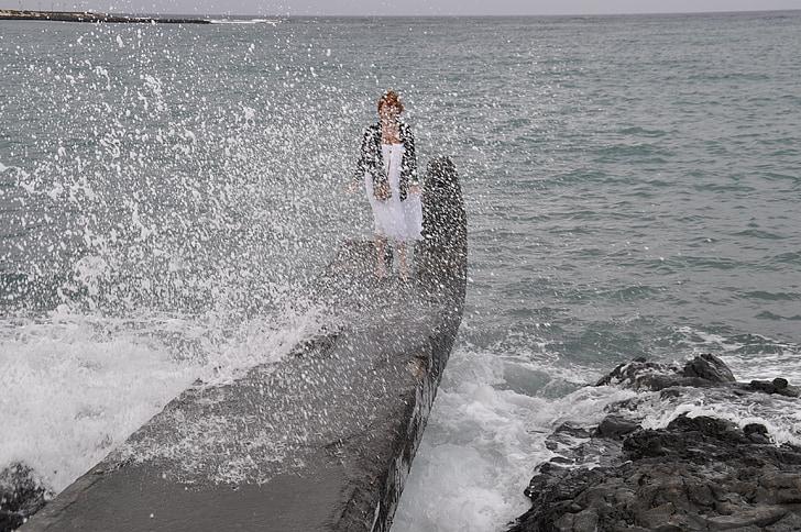 hullám, víz, szórakozás, spray, tenger, óceán, Petra söhner