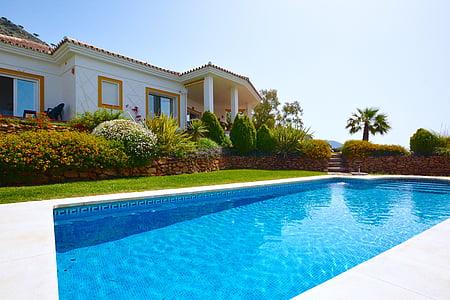 Villa, ferie, Spania, svømming, avslappende, solskinn, avslapning