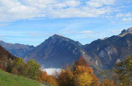 mountain, landscape, foliage, autumn landscape