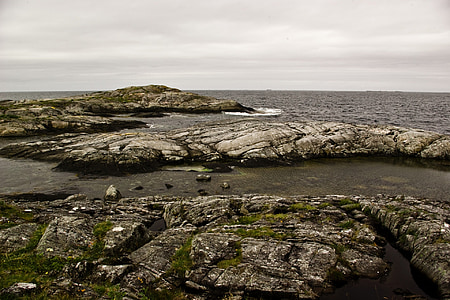 rocks, atlantic, norwegian sea, the atlantic road, moss, sea, horizon
