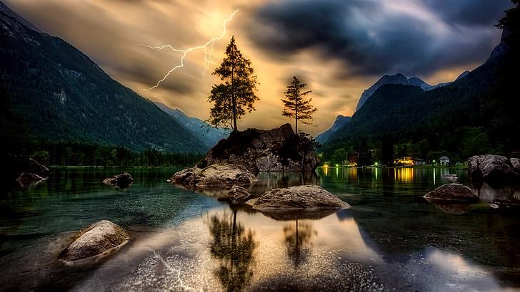 Saulėlydis, Sutemos, dangus, debesys, Žaibas, Audra, HDR