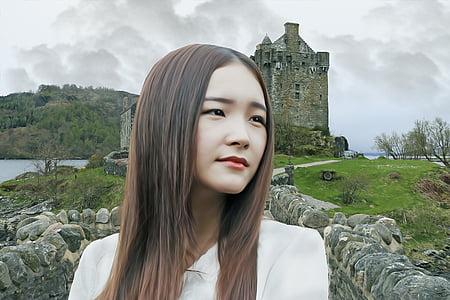 female, woman, young, beauty, portrait, castle, female face