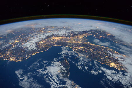 international space station, view, space, night, earth, italy, alps