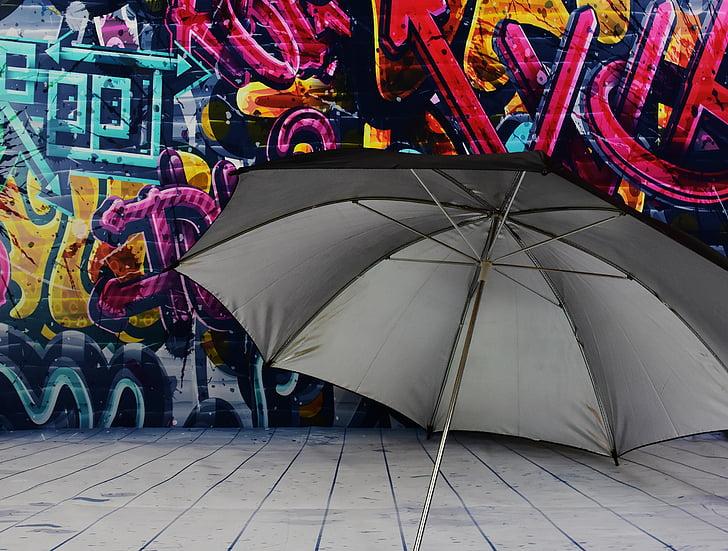 чадър, екран, защита, дъжд, стена, Графити, цветни