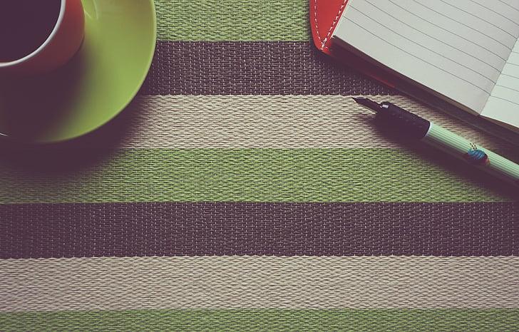 kafijas, piezīmju grāmatiņas, fons, oranža, darba, tabula, biroja