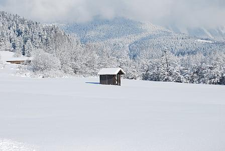 cabina, inviernos de, nieve, taladros de, naturaleza, paisaje de invierno, paisaje nevado
