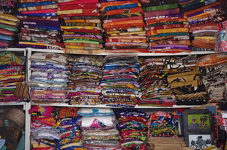 tkaniny, haldy, trhu, viac farebné, móda, textilné, Obchod
