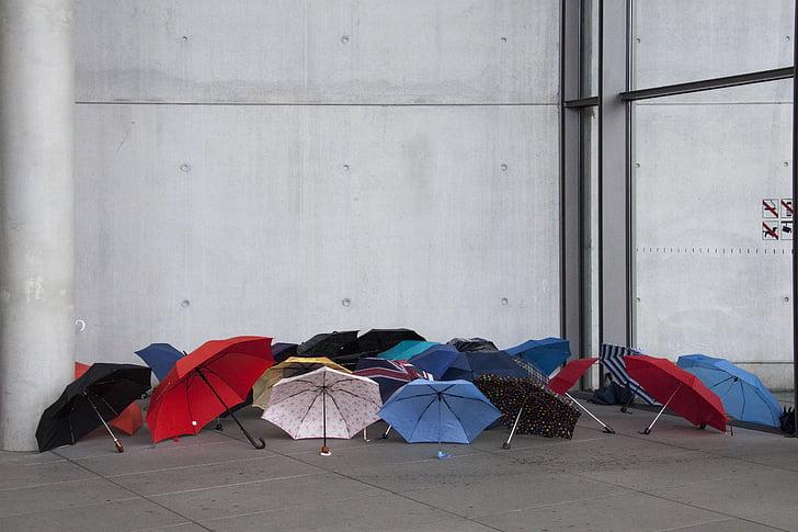 para-sols, s'estenia, temps, temps plujós, colors, paraigua